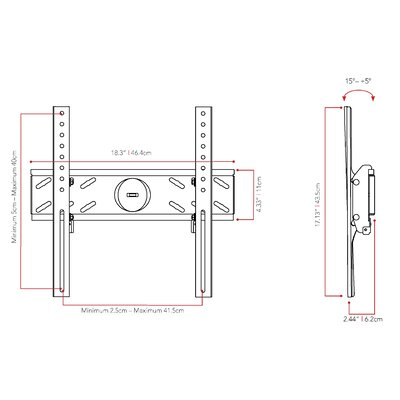 Tilt Wall Mount for 26 - 47 TVs Flat Panel Screens