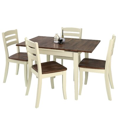 Wallace 5 Piece Cream Frame Dining Set Finish: Dark Brown/Cream