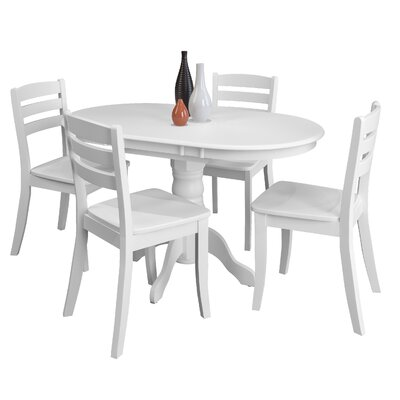 Wallace 5 Piece Solid Wood  Dining Set Finish: White