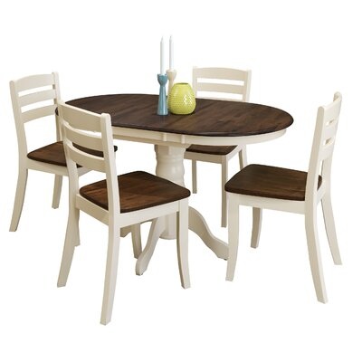 Wallace 5 Piece Solid Wood  Dining Set Finish: Dark Brown/Cream