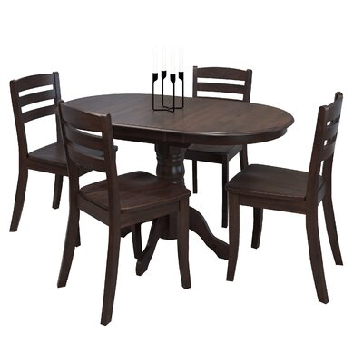 Wallace 5 Piece Solid Wood  Dining Set Finish: Cappuccino