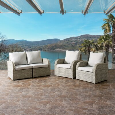 Killingworth Weather Resistant Resin Wicker 4 Piece Deep Seating Group with Cushions Fabric: Gray