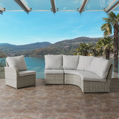 Killingworth Modern Weather Resistant Resin Wicker 4 Piece Deep Seating Group with Cushions Fabric: Gray