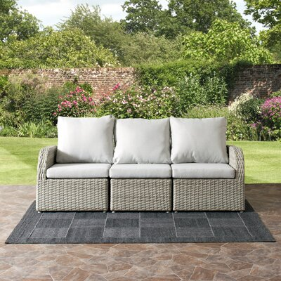 Killingworth Weather Resistant Resin Wicker 3 Piece Deep Seating Group with Cushions Fabric: Gray