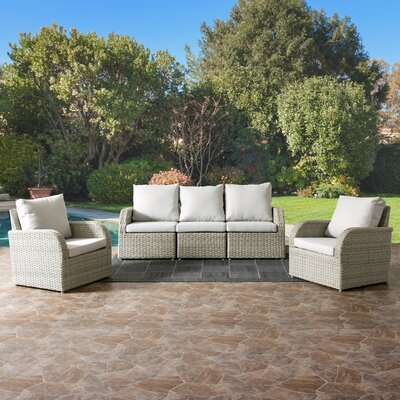Killingworth Patio Weather Resistant Resin Wicker 5 Piece Deep Seating Group with Cushions Fabric: Gray