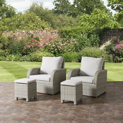 Killingworth Patio Weather Resistant Resin Wicker 4 Piece Deep Seating Group with Cushions Fabric: Gray