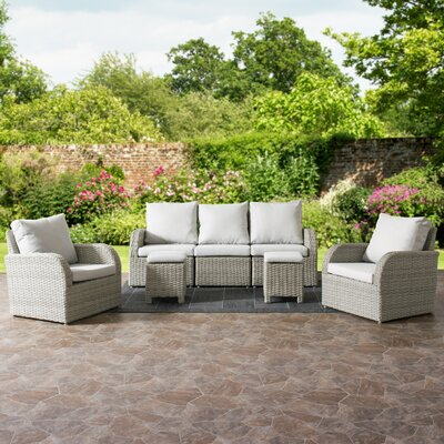 Killingworth Weather Resistant Resin Wicker 7 Piece Deep Seating Group with Cushions Fabric: Gray