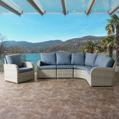 Killingworth Weather Resistant Resin Wicker 5 Piece Deep Seating Group with Cushions Fabric: Blue