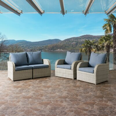 Killingworth Weather Resistant Resin Wicker 4 Piece Deep Seating Group with Cushions Fabric: Blue