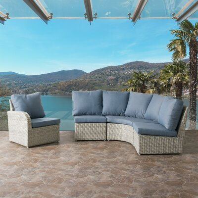 Killingworth Modern Weather Resistant Resin Wicker 4 Piece Deep Seating Group with Cushions Fabric: Blue