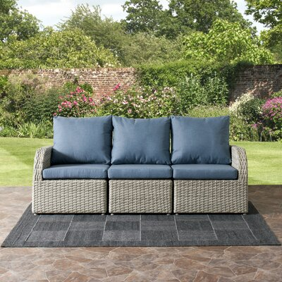 Killingworth Weather Resistant Resin Wicker 3 Piece Deep Seating Group with Cushions Fabric: Blue