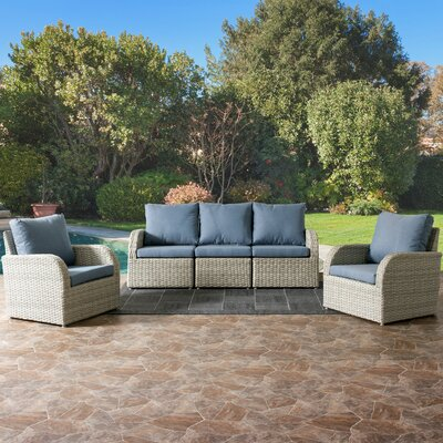 Killingworth Patio Weather Resistant Resin Wicker 5 Piece Deep Seating Group with Cushions Fabric: Blue