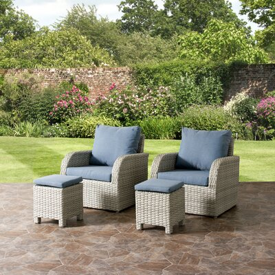 Killingworth Patio Weather Resistant Resin Wicker 4 Piece Deep Seating Group with Cushions Fabric: Blue