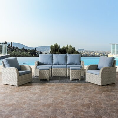 Killingworth Weather Resistant Resin Wicker 7 Piece Deep Seating Group with Cushions Fabric: Blue
