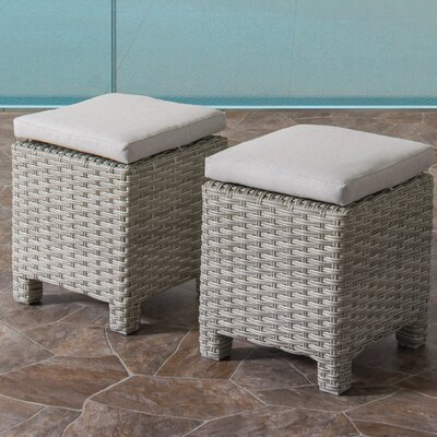 Killingworth Weather Resistant Resin Wicker Ottoman with Cushions Fabric: Gray