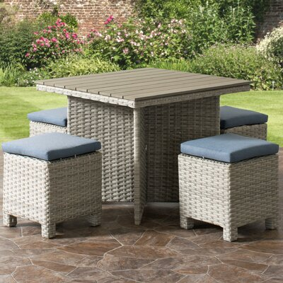 Killingworth Weather Resistant Resin Wicker Patio 5 Piece Dining Set Cushion Color: Blue