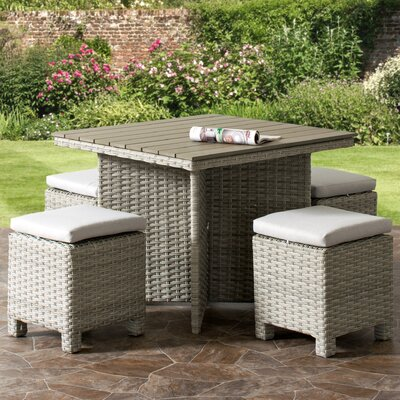 Killingworth Weather Resistant Resin Wicker Patio 5 Piece Dining Set Cushion Color: Gray