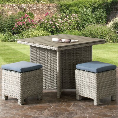 Killingworth Weather Resistant Resin Wicker Patio 3 Piece Dining Set Cushion Color: Blue
