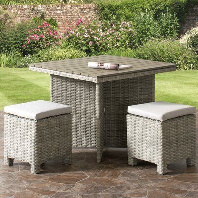 Killingworth Weather Resistant Resin Wicker Patio 3 Piece Dining Set Cushion Color: Gray