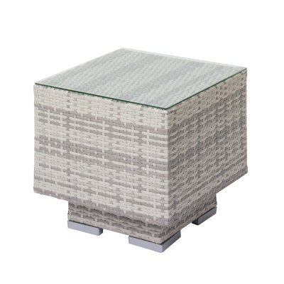 Meleri Patio Wicker Side Table with Glass Top