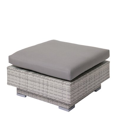 Meleri Patio Wicker Ottoman with Sunbrella Cushion Fabric: Gray