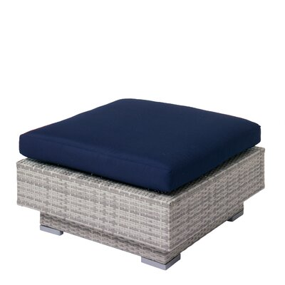 Meleri Patio Wicker Ottoman with Sunbrella Cushion Fabric: Navy