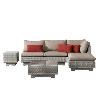 Khloe Sunbrella 6 Piece Glass Top Wicker Patio Sectional Set Cushion Color: Beige, Accent Pillow Fabric: Red