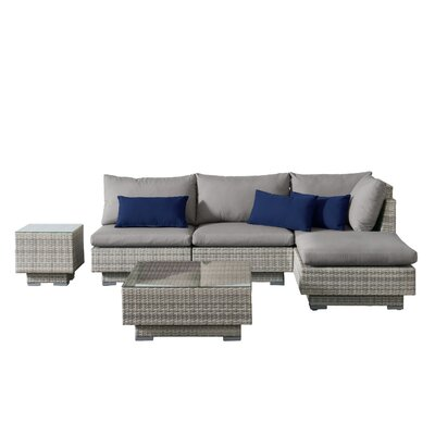 Khloe Sunbrella 6 Piece Glass Top Wicker Patio Sectional Set Cushion Color: Gray, Accent Pillow Fabric: Navy