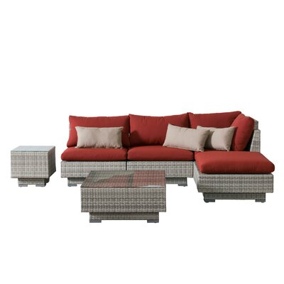 Khloe Sunbrella 6 Piece Glass Top Wicker Patio Sectional Set Cushion Color: Red, Accent Pillow Fabric: Beige