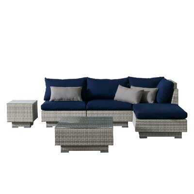 Khloe Sunbrella 6 Piece Glass Top Wicker Patio Sectional Set Cushion Color: Navy, Accent Pillow Fabric: Gray