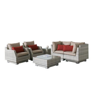 Khloe Sunbrella 6 Piece Square Wicker Patio Sectional Set Cushion Color: Beige, Accent Pillow Fabric: Red