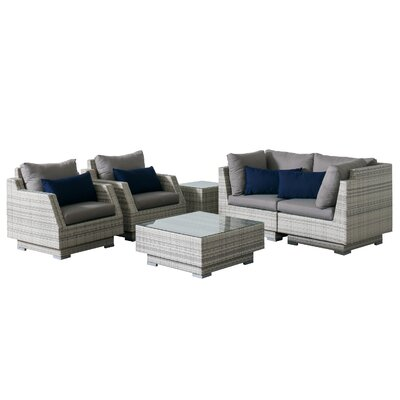 Khloe Sunbrella 6 Piece Square Wicker Patio Sectional Set Cushion Color: Gray, Accent Pillow Fabric: Navy