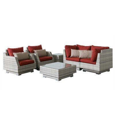 Khloe Sunbrella 6 Piece Square Wicker Patio Sectional Set Cushion Color: Red, Accent Pillow Fabric: Beige