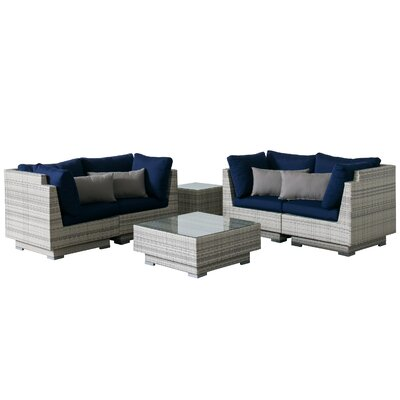 Khloe Sunbrella 6 Piece Square Wicker Patio Sectional Set Cushion Color: Navy, Accent Pillow Fabric: Gray