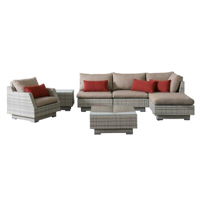 Khloe Sunbrella 7 Piece Wicker Patio Sectional Set with Cushions Cushion Color: Beige, Accent Pillow Fabric: Red