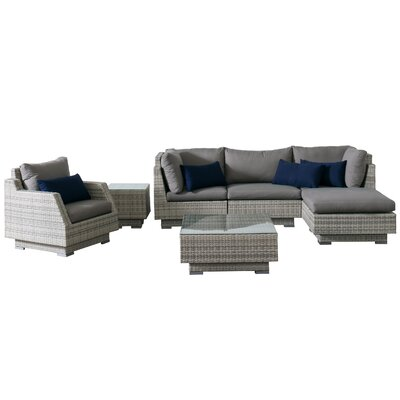 Khloe Sunbrella 7 Piece Wicker Patio Sectional Set with Cushions Cushion Color: Gray, Accent Pillow Fabric: Navy