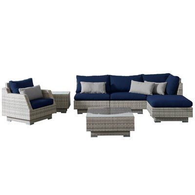 Khloe Sunbrella 7 Piece Wicker Patio Sectional Set with Cushions Cushion Color: Navy, Accent Pillow Fabric: Gray
