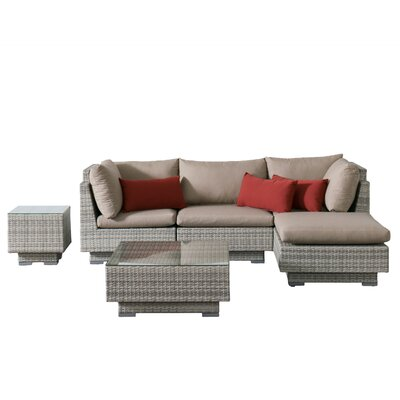 Khloe Sunbrella 6 Piece Square Glass Top Wicker Patio Sectional Set Cushion Color: Beige, Accent Pillow Fabric: Red