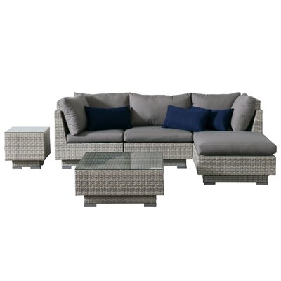 Khloe Sunbrella 6 Piece Square Glass Top Wicker Patio Sectional Set Cushion Color: Gray, Accent Pillow Fabric: Navy