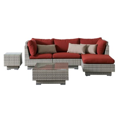 Khloe Sunbrella 6 Piece Square Glass Top Wicker Patio Sectional Set Cushion Color: Red, Accent Pillow Fabric: Beige