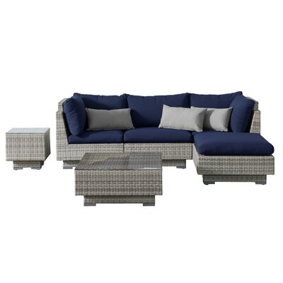 Khloe Sunbrella 6 Piece Square Glass Top Wicker Patio Sectional Set Cushion Color: Navy, Accent Pillow Fabric: Gray