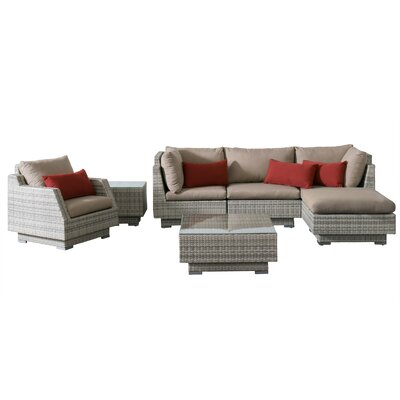 Khloe Sunbrella 7 Piece Wicker Patio Sectional Set Cushion Color: Beige, Accent Pillow Fabric: Red