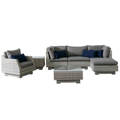 Khloe Sunbrella 7 Piece Wicker Patio Sectional Set Cushion Color: Gray, Accent Pillow Fabric: Navy