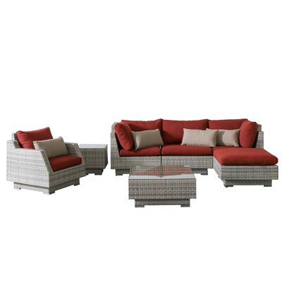 Khloe Sunbrella 7 Piece Wicker Patio Sectional Set Cushion Color: Red, Accent Pillow Fabric: Beige