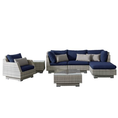 Khloe Sunbrella 7 Piece Wicker Patio Sectional Set Cushion Color: Navy, Accent Pillow Fabric: Gray