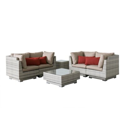 Khloe Sunbrella 6 Piece Wicker Patio Sectional Set with Cushions Cushion Color: Beige, Accent Pillow Fabric: Red