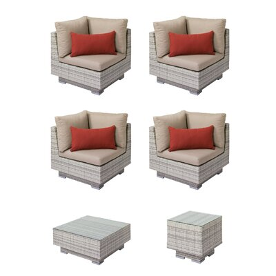 Khloe Sunbrella 5 Piece Glass Top Wicker Patio Sectional Set Cushion Color: Beige, Accent Pillow Fabric: Red