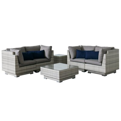Khloe Sunbrella 6 Piece Wicker Patio Sectional Set with Cushions Cushion Color: Gray, Accent Pillow Fabric: Navy
