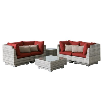 Khloe Sunbrella 6 Piece Wicker Patio Sectional Set with Cushions Cushion Color: Red, Accent Pillow Fabric: Beige
