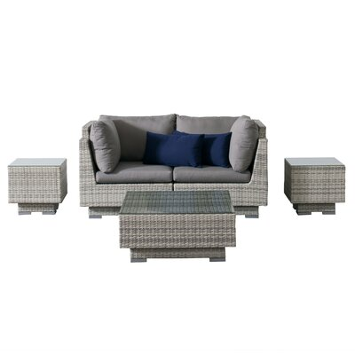 Khloe Sunbrella 5 Piece Glass Top Wicker Patio Sectional Set Cushion Color: Gray, Accent Pillow Fabric: Navy